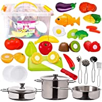FUNERICA 45-Pieces Kitchen Pretend Play Food Toys with Stainless Steel Pots & Pans, Cooking Utensils, Storage Bin, Knife…