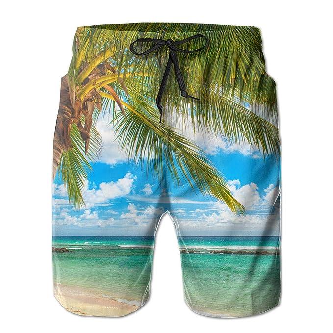 3f712916dd Palm Tree Blue Sky Clean Sea Men's Summer Casual Drawstring Shorts Quick  Dry Beach Shorts Swim