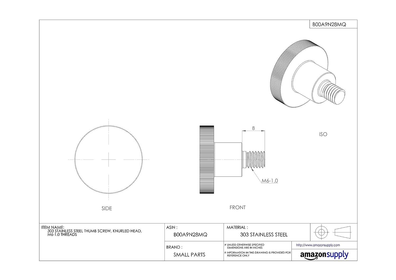 303 Stainless Steel Thumb Screw Knurled Head M6-1.0 Metric Coarse Threads JW Winco 6N20P04