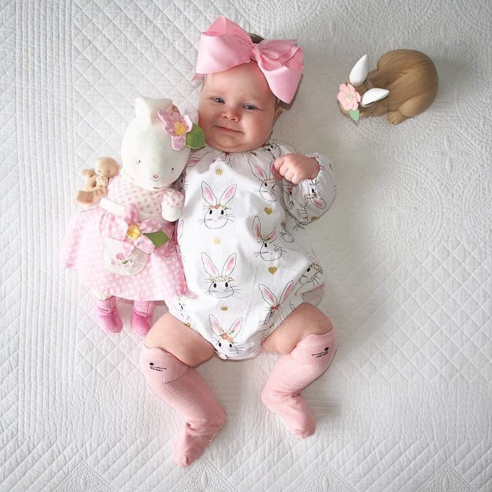 Infant Baby Girls Easter Cartoon Rabbit Print Romper Jumpsuit Playsuit Outfits