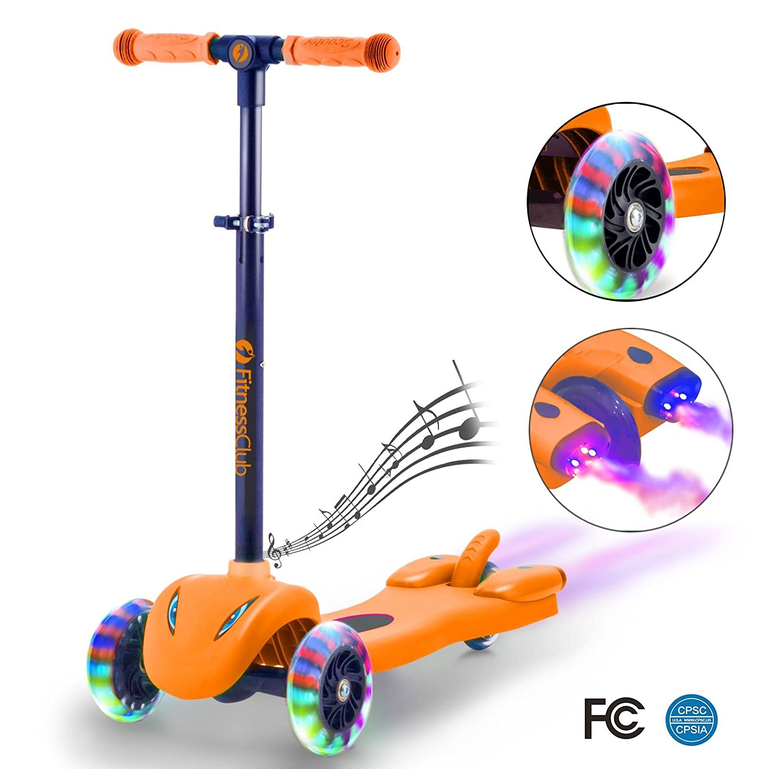 Kick Scooter for Kids, Multi foundation Kids Scooters with LED Light Up Wheels, Height adjustable scooter for children, Rocket Sprayer +Sound Effect,colorful Water Dynamic steam mist