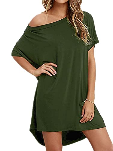 Angelady Women Loose T Shirts Home Short Sleeve Casual Hem Solid Top Dress