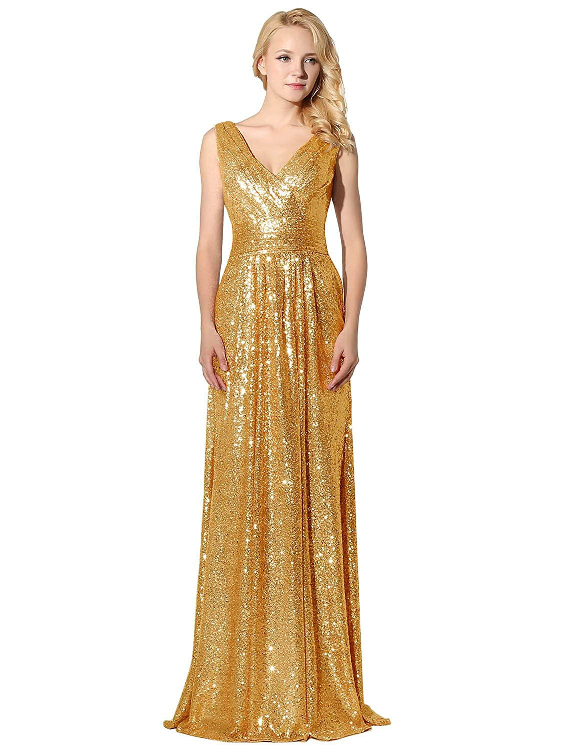 Clearbridal Women's Sequines Rose Gold Prom Evening Dress Formal Long Maxi Ball Gown Bridesmaid Dress, Gold, UK 14