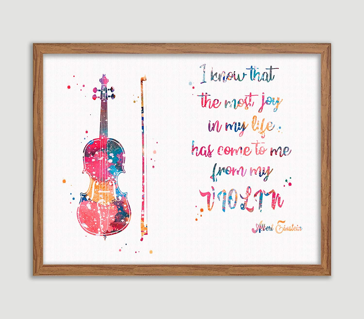 com violin quote by albert einstein watercolor poster