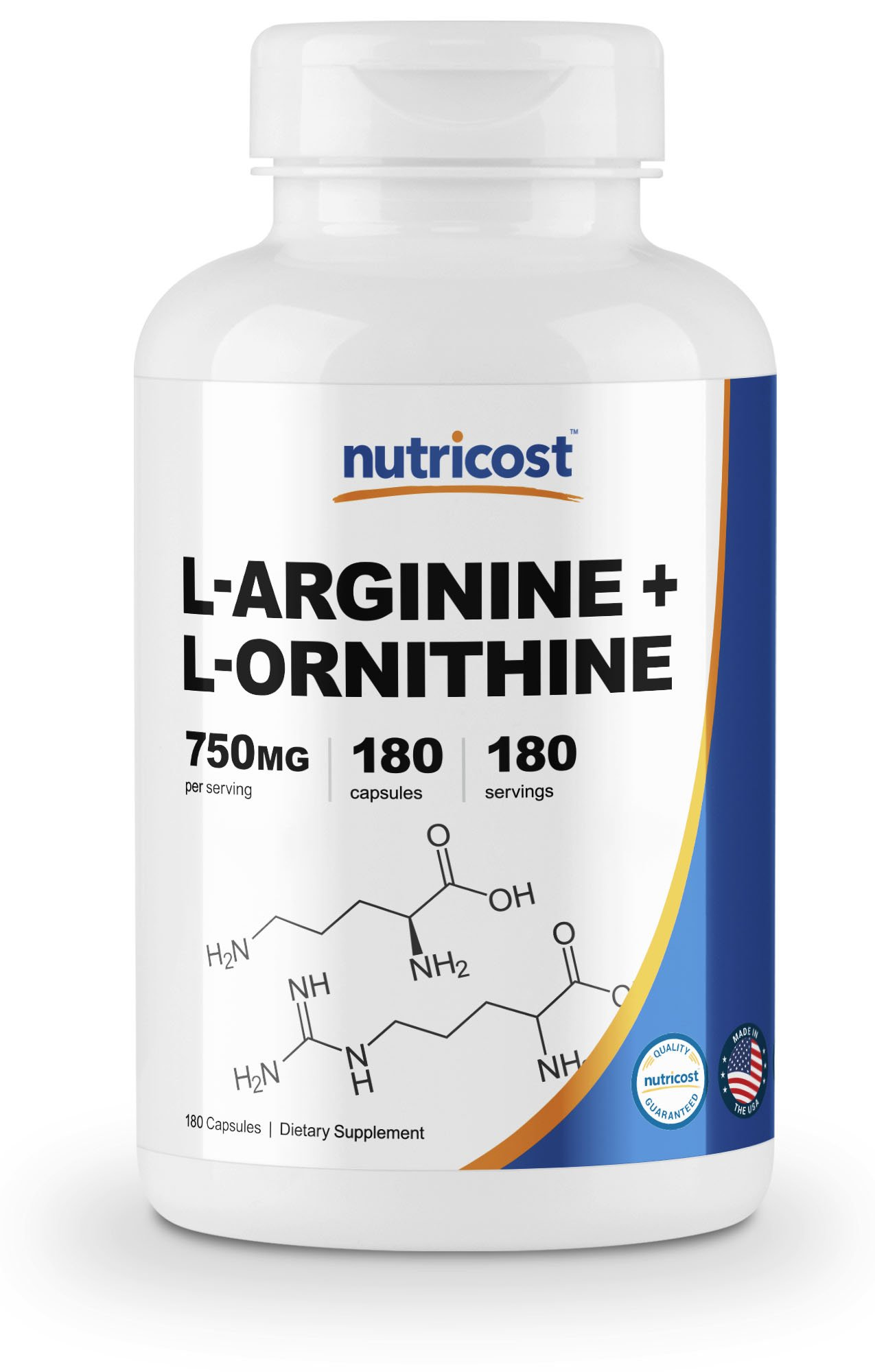 Nutricost L-Arginine L-Ornithine 750mg; 180 Capsules by Nutricost