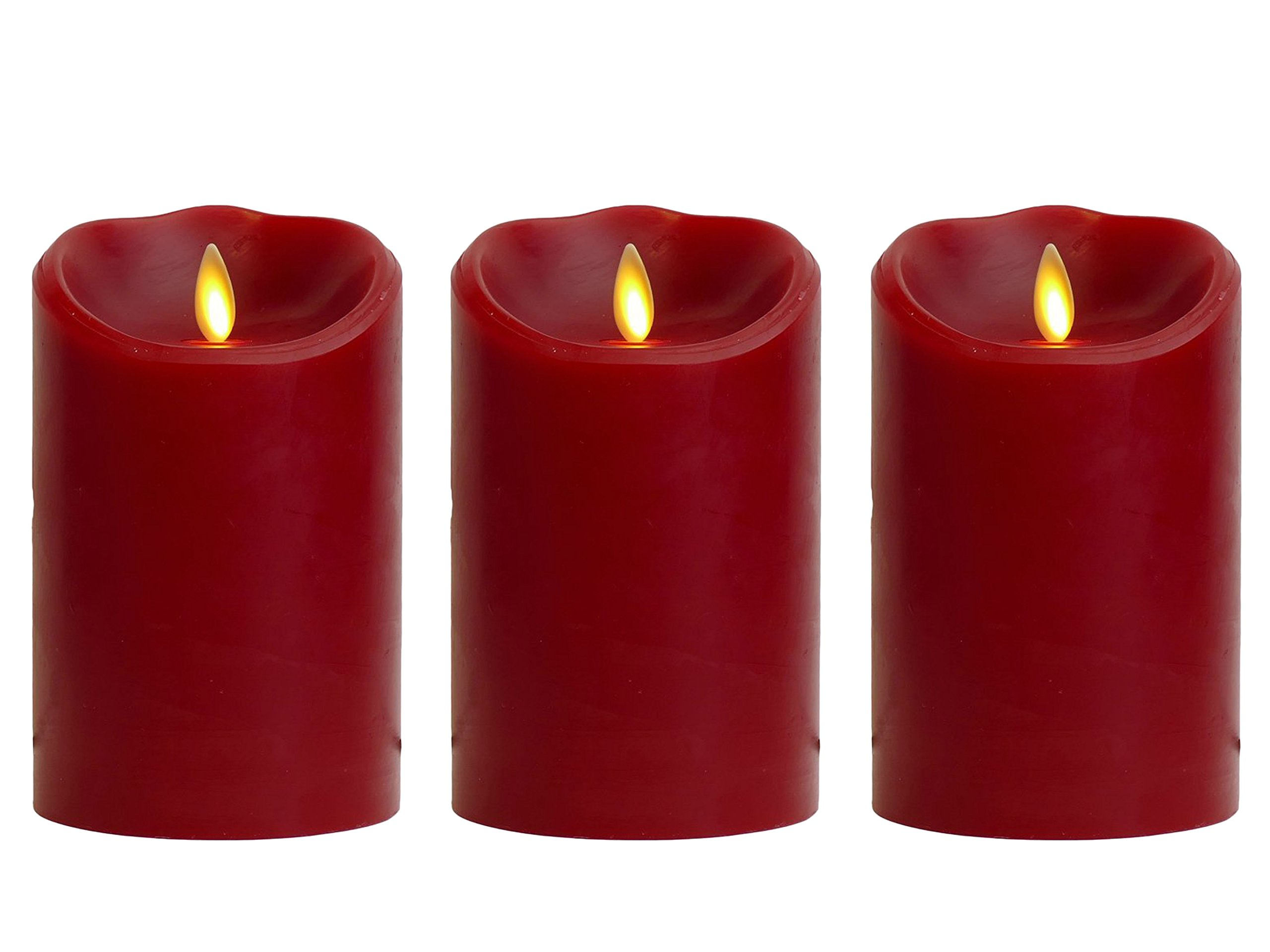 Set of 3 Luminara 5 in. Red Flameless Candle Cinnamon Scented with Timer Bundled by Maven Gifts