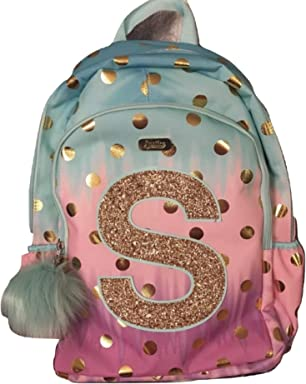 Justice School Backpack Dot Ombre Foil Letter Initia (S)