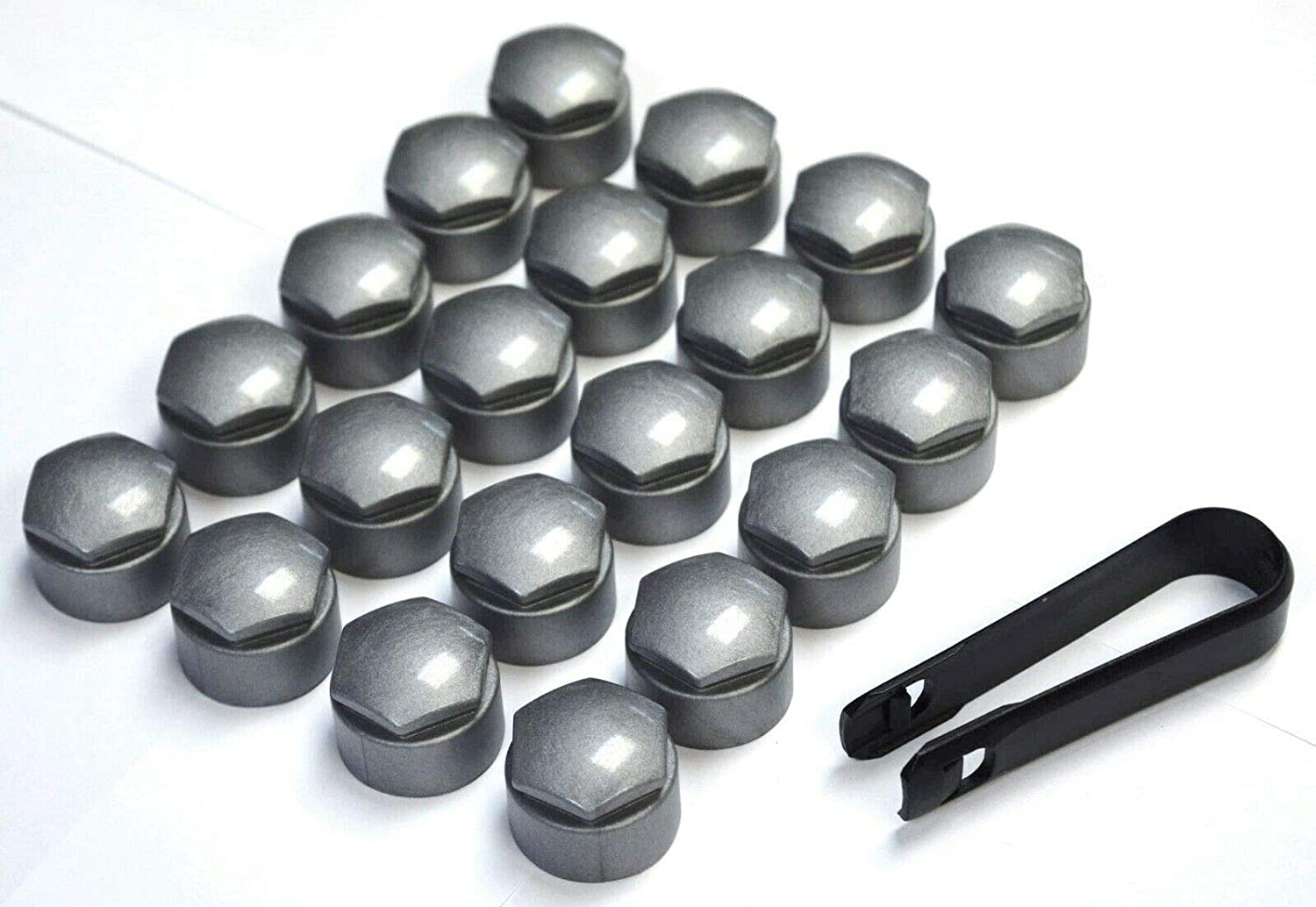 Welcomefee 20 Pieces Universal Chrome Car Wheel Bolt Nut Head Cap Covers 17mm Plastic Hexagonal Protectors Hex plus Removal Tool