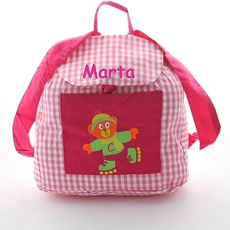 Bolsa mochila oso patinador, en tela vichy cuadros rosas y blancos, personalizada con nombre