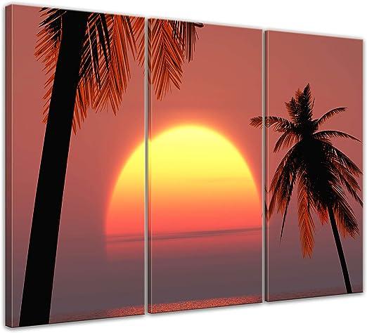 Bilderdepot24 Cuadros en Lienzo Puesta del Sol en Ibiza - 120 x 80 cm 3 Piezas - Listo tensa, Directamente Desde el Fabricante: Amazon.es: Hogar
