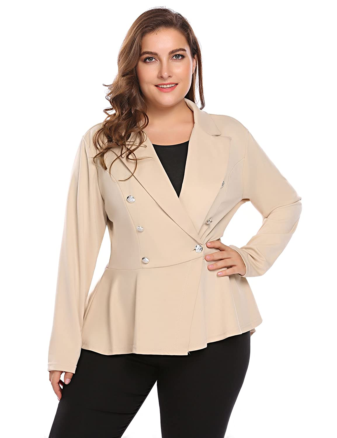 Involand Womens Plus Size Long Sleeve Open Front Work Office Casual Blazer Jacket INH023760