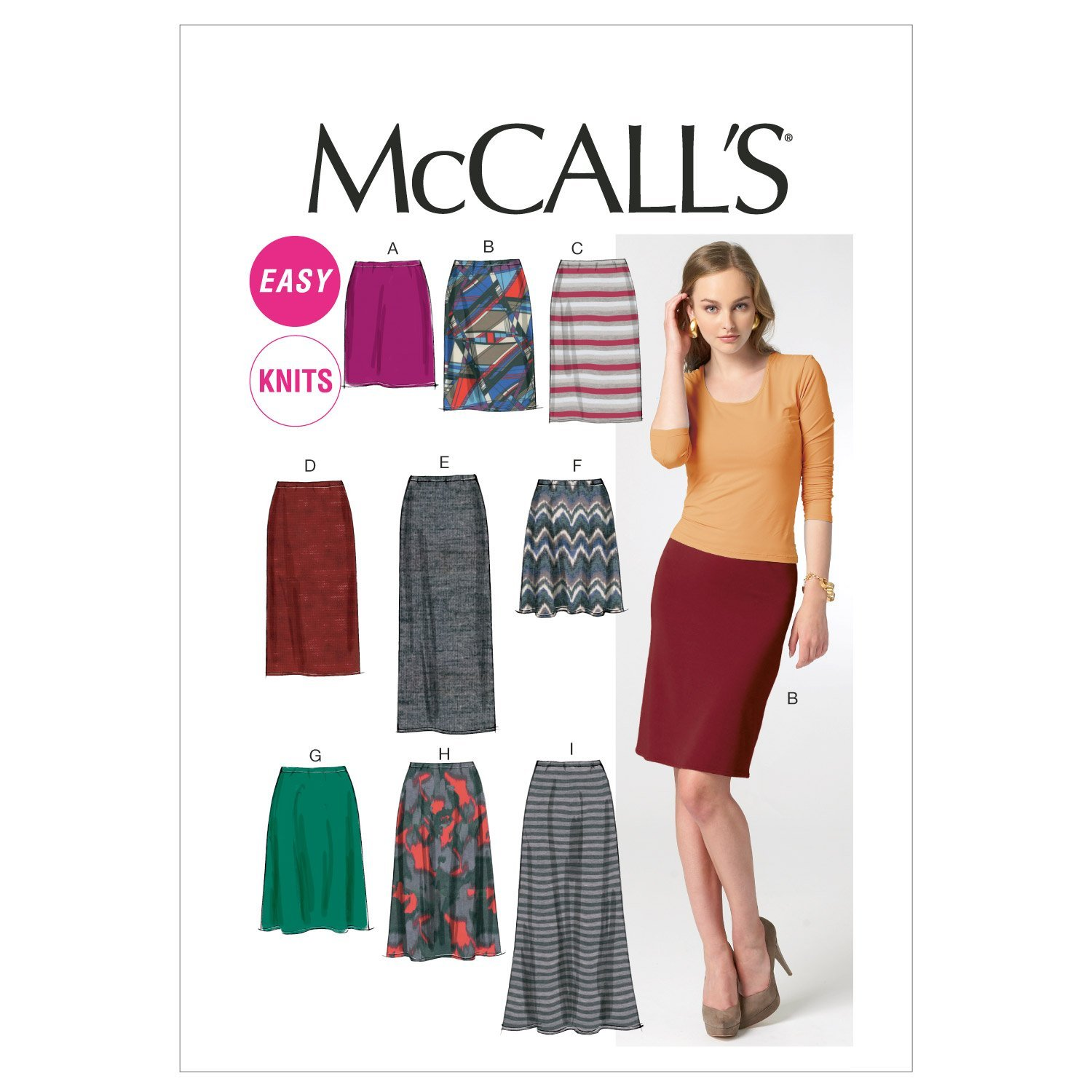 6-8-10-12-14 Size A5 McCall Patterns M6654 Misses Skirts Sewing Template