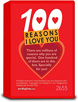 100 reasons Why I Love You Gift box Romantic Gift Anniversary reason to love you Red love Magic Love notes Wishes box Gift for girlfriend