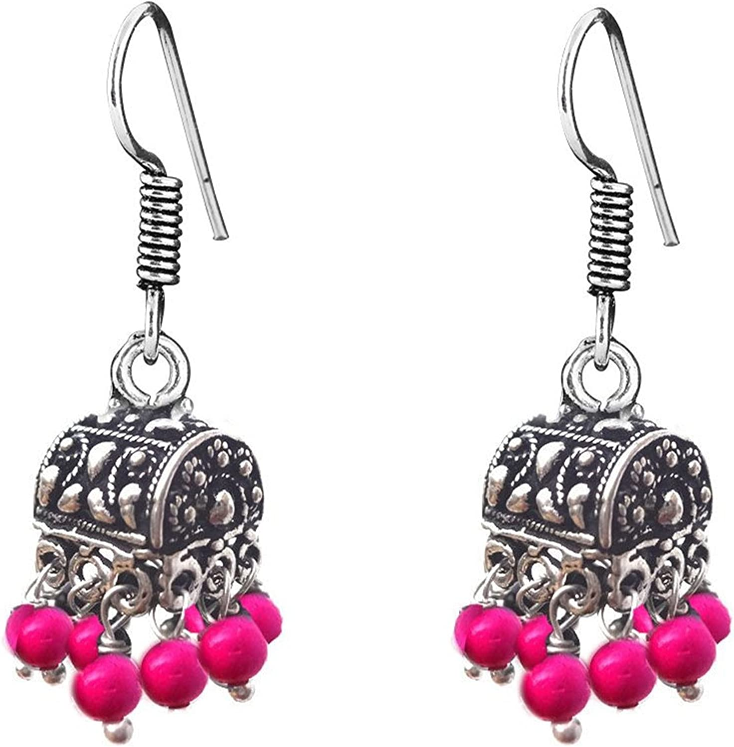 Subharpit Traditional Red Color Dangle Indian Earrings Jewelry for Girls and Women