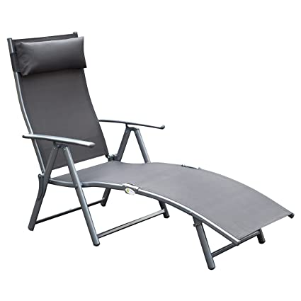 Amazon Com Outsunny Steel Sling Fabric Outdoor Folding Chaise