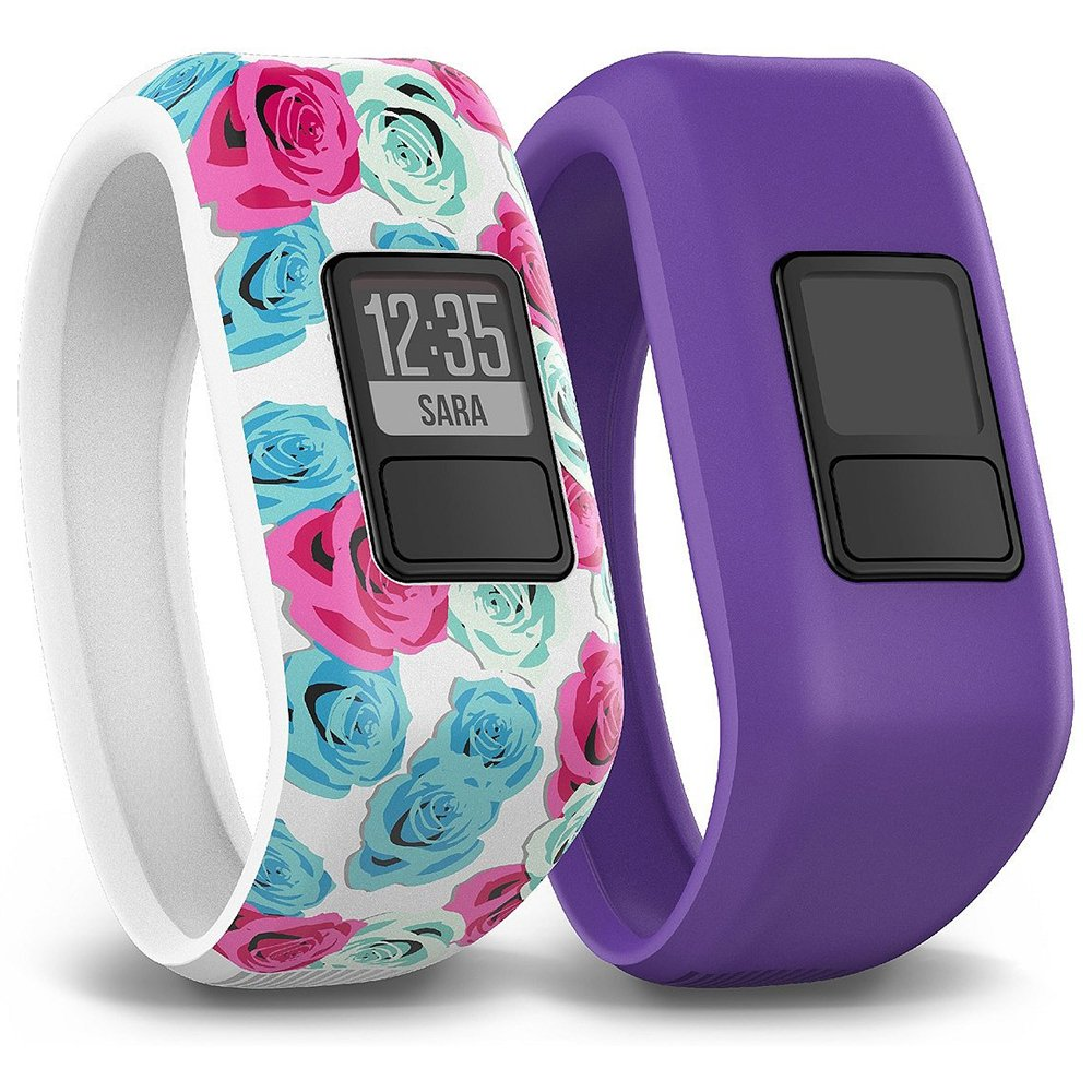 Garmin Vivofit Jr. Tracker with 2 Bands, Flower and Purple