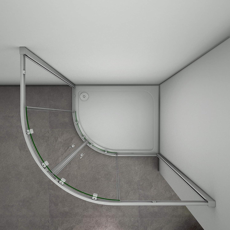 Mamparas de ducha Semicircular Puerta Corredera Gris Mate 5mm 76x90x185cm: Amazon.es: Bricolaje y herramientas