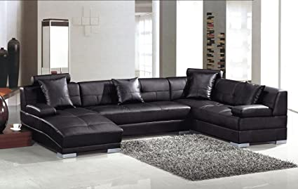 Amazon.com: 3334 Black Ultra modern sectional sofa: Kitchen & Dining