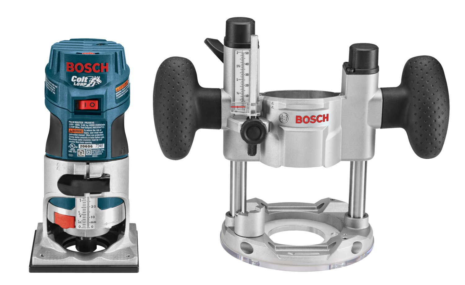 Bosch PR20EVSPK 5.6-Amp Colt Palm Grip 1-Horsepower Fixed and Plunge Base Variable-Speed Router Combo Kit