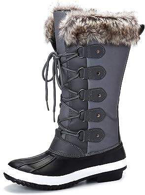 Women Winter Luxury Snow Boots Mid Calf Warm Fur Grip Sole Ladies Ski Shoes Size