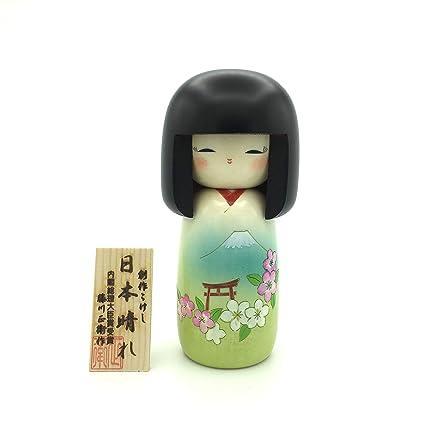 XMHF Handcrafted Kimono Kokeshi Dolls in Japanese Red