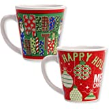 Coffee Christmas Mugs Ceramic Stoneware Tea Cups with Handle Set of 2 For Hot Chocolate and Cocoa; Green Merry Christmas Snowman and Red Happy Holiday Ornament Design, 12 Oz Mug By Gift Boutique