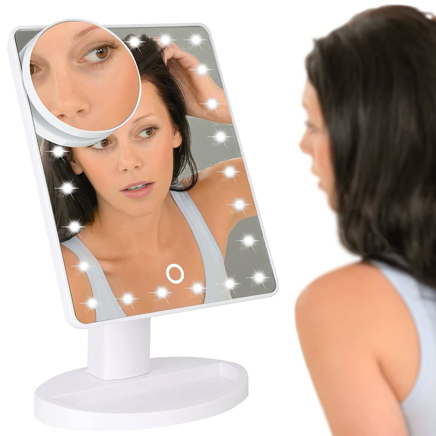 LED Light Up Illuminated Make Up Bathroom Mirror With Magnifier M/&W White New