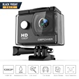 DBPOWER 1080P Action Camera 14MP WiFi Waterproof Sports Camera 140 Degree Wide Angle Lens, 30m Underwater DV Camcorder with 14 Accessories and 2 Batteries