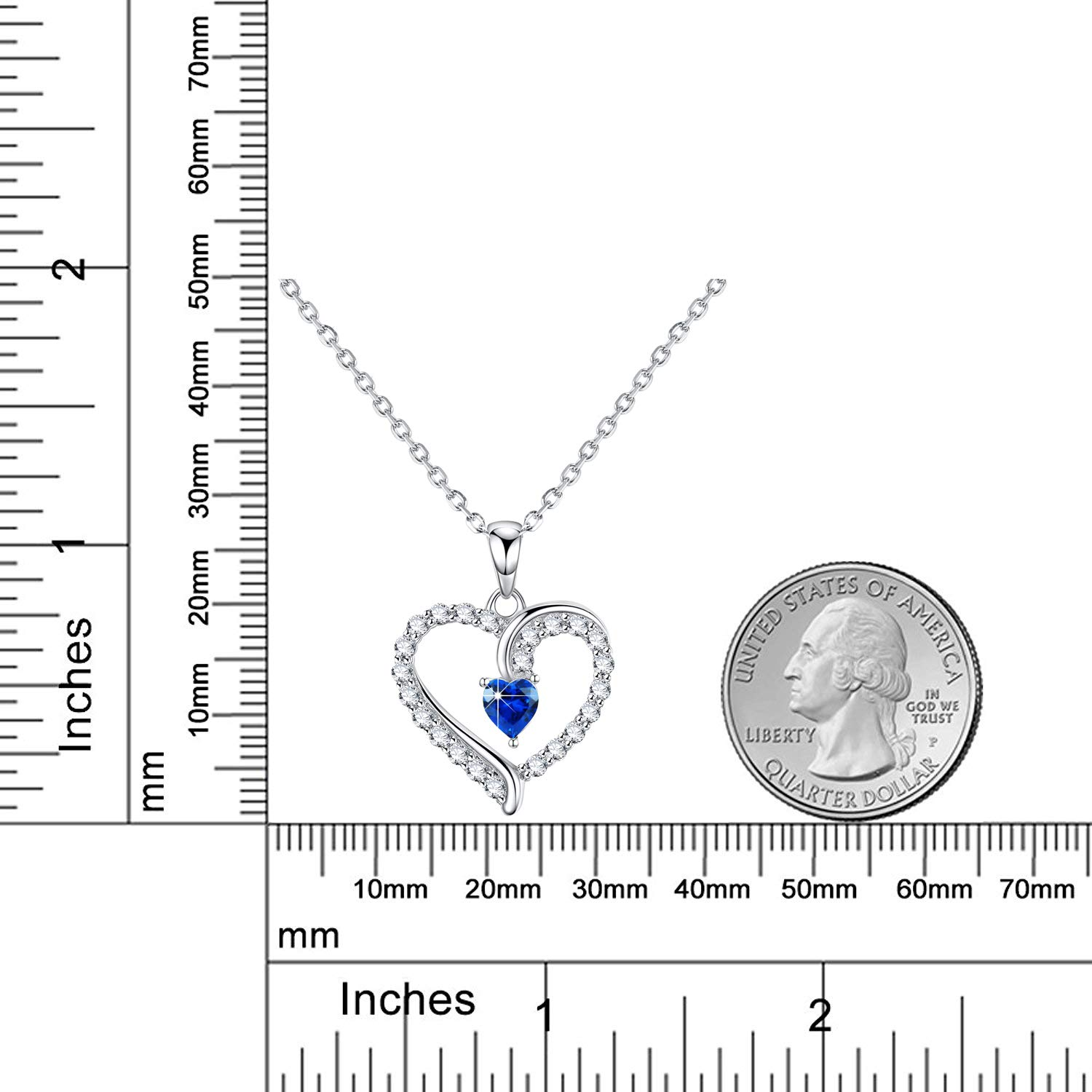 September Birthstone ❤️ You are The Only One ❤️ Love Heart Pendant Necklace for Wife Created Blue Sapphire Fine Jewelry Birthday for Women Her Girlfriend Daughter Sterling Silver by Dorella (Image #6)