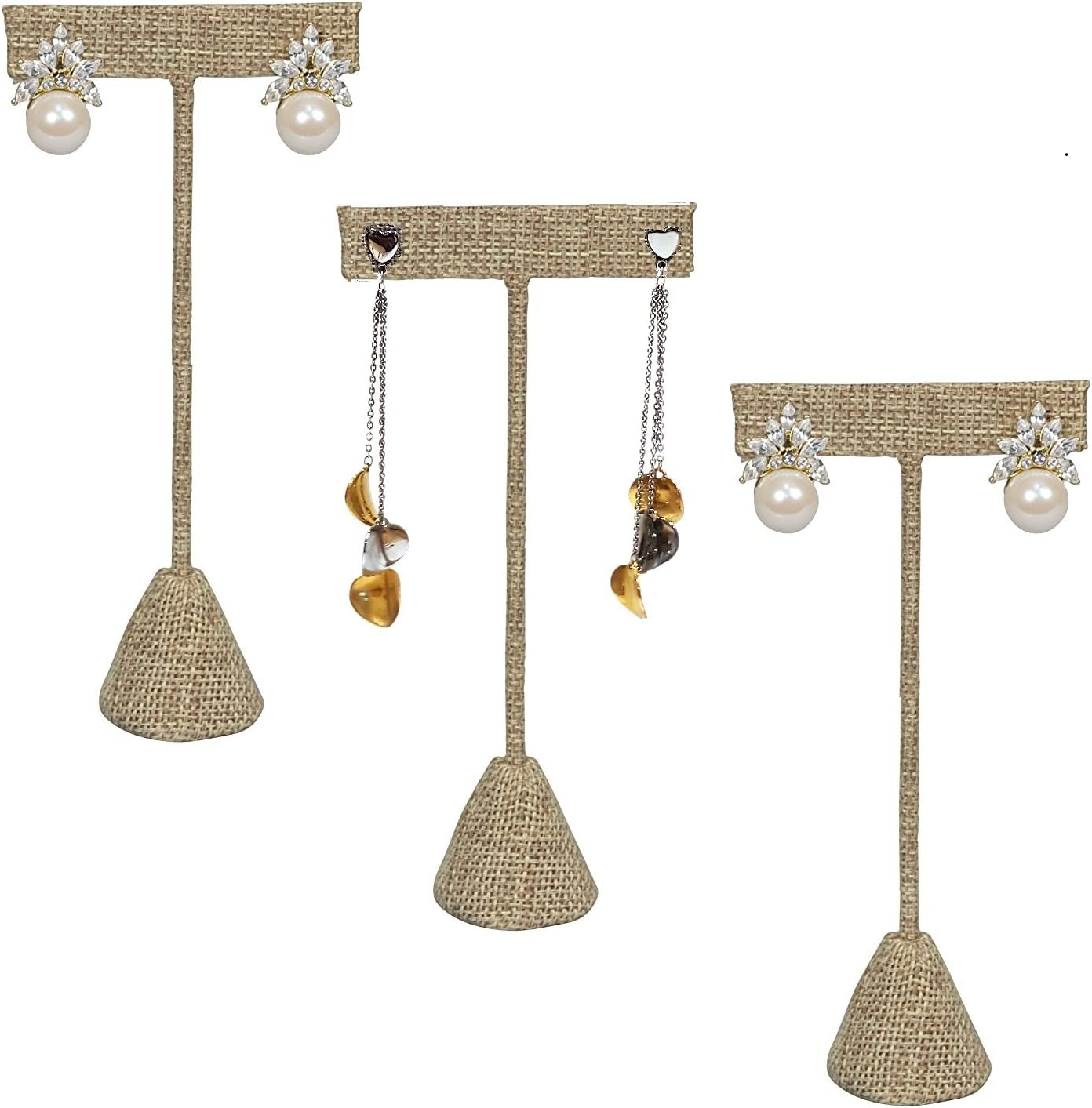 T Shape Holder for Tradeshow or just for Home. Home Business 3 Beige Linen 4.75 H Earring T Stand Display