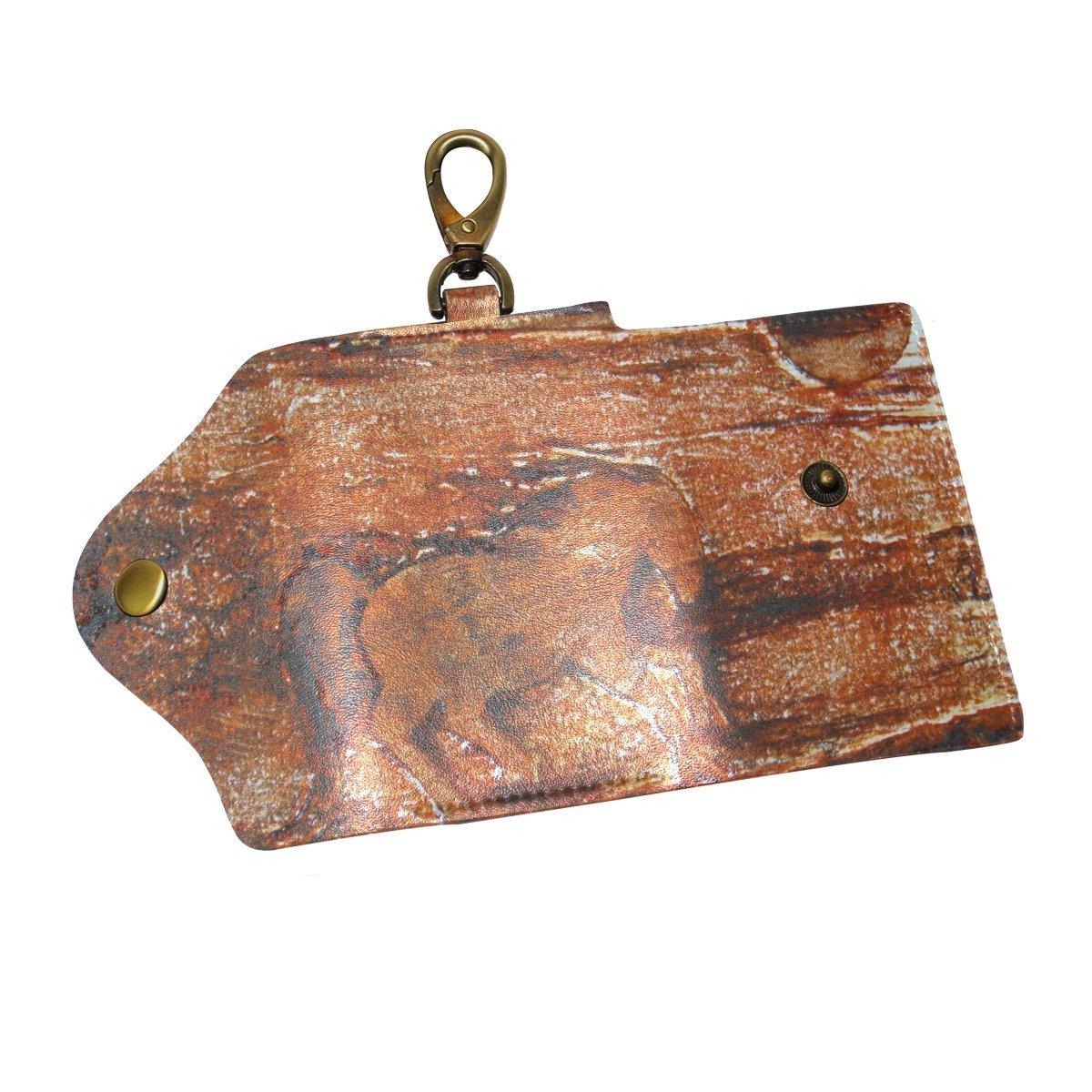 DEYYA Horse Running Leather Key Case Wallets Unisex Keychain Key Holder with 6 Hooks Snap Closure