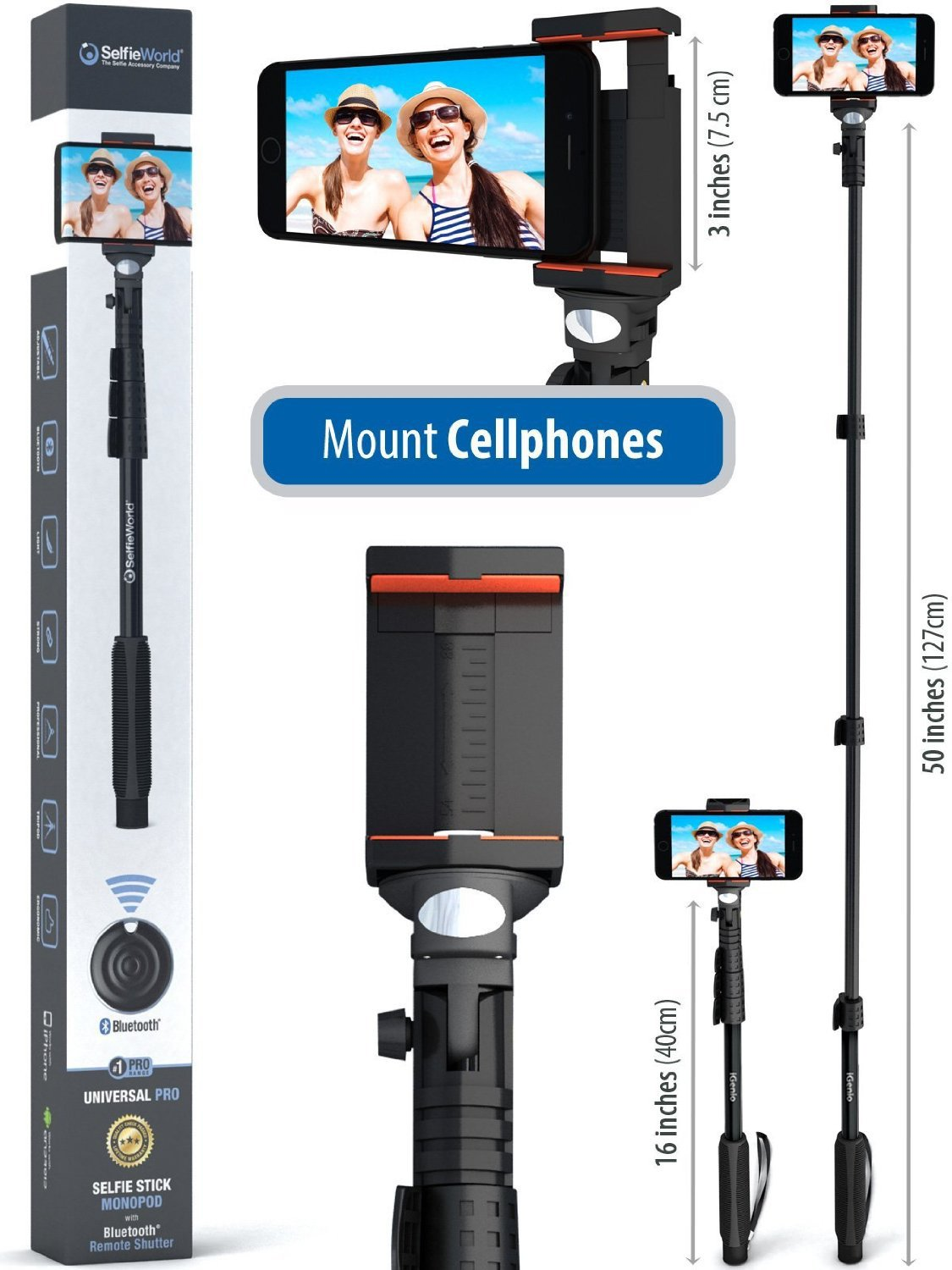 Professional 10-In-1 Monopod / Selfie Stick For GoPro Hero, iPhone, Samsung Galaxy, Digital Cameras With Bluetooth Remote Shutter (Cellphones Only) by Selfie World (Image #4)