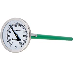 REOTEMP K82-3 Soil Thermometer, 7 Inch Stem, Waterproof, for Seeding and Transplanting Garden Temperature Measurement, 0-220 Fahrenheit
