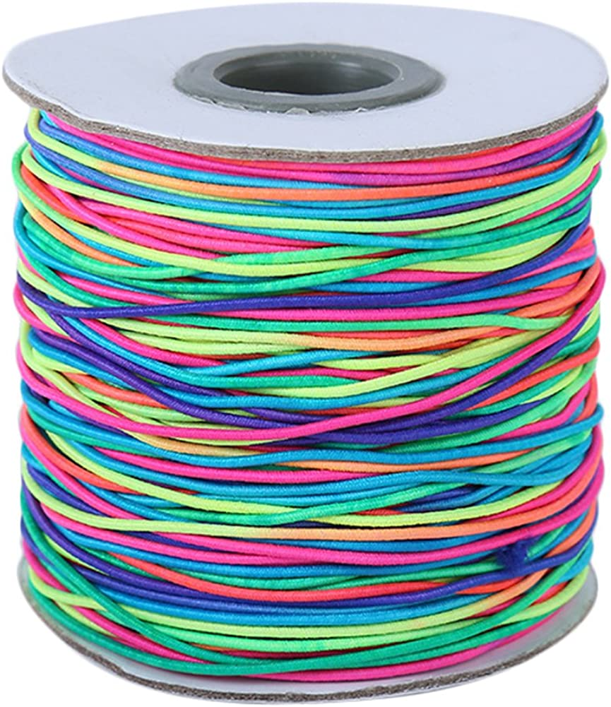 Kentop Cuerda elástica arcoíris para perlas, cuerda de nailon para manualidades, 1 mm de diámetro