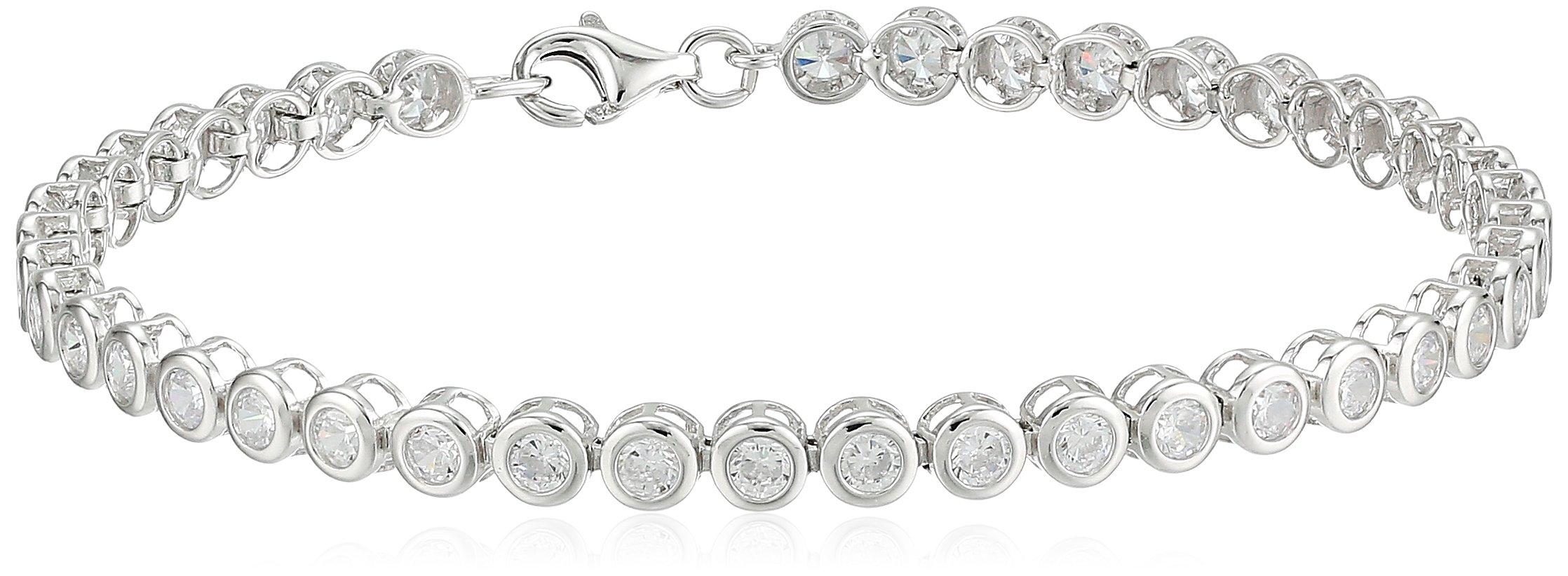 Sterling Silver Cubic Zirconia Bezel Set Tennis Bracelet, 7.5''
