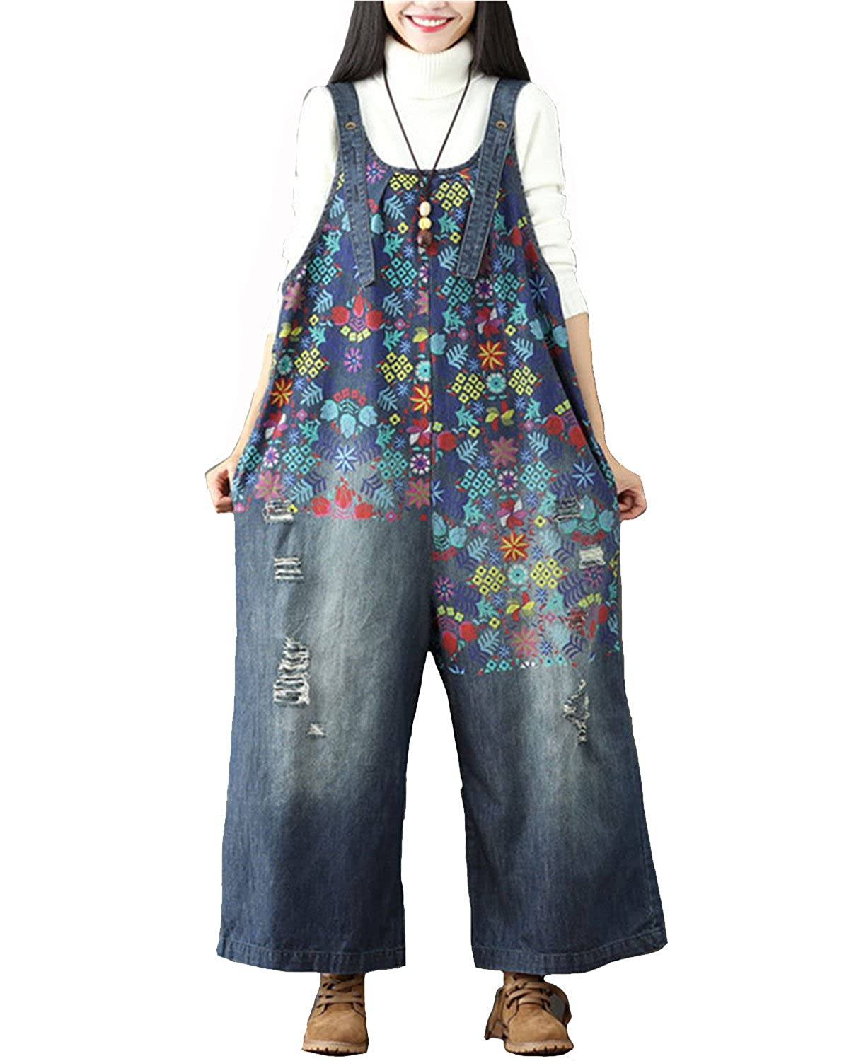Aeneontrue Women's Casual Floral Harem Dungarees Bib Overalls Rompers Wide Leg Pants with Pocket AE701