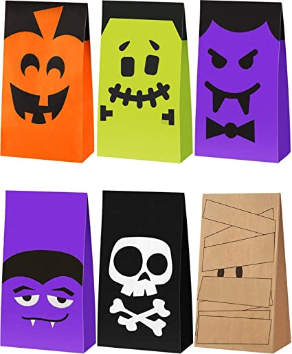 Vampire Tatuo 24 Pieces Halloween Paper Bags Trick or Treat Bags Halloween Party Present Bags Pumpkin Skeleton Grocery Bags Flat Bottom Paper Bags 18 x 9 x 6 cm, 6 Colors Mummy