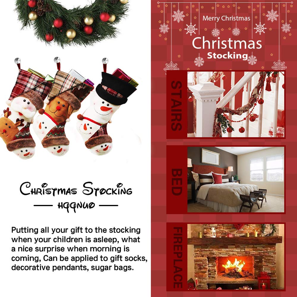 Christmas Stockings 3 Pack 18 Large Santa Snowman Reindeer Xmas Fireplace Hanging Stockings Decoration Stockings with 3D Plush Faux Fur Cuff for Christmas Decoration and Family Holiday Party D/écor Createy