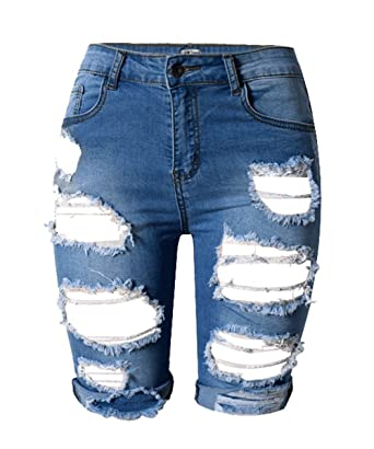 2210bc03ad AJ FASHION Women's Distressed Denim Shorts Knee Length High Waisted Ripped  Jeans: Amazon.co.uk: Clothing