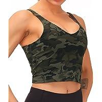 Dragon Fit Sports Bra for Women Longline Padded Bra Yoga Crop Tank Tops Fitness Workout Running Top