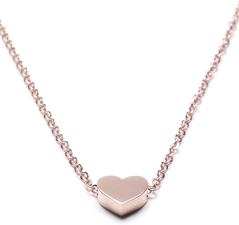 Collier D/élicat avec Pendentif Coeur Bijou en Titane Happiness Boutique Femmes Collier Pendentif Coeur en Or Rose