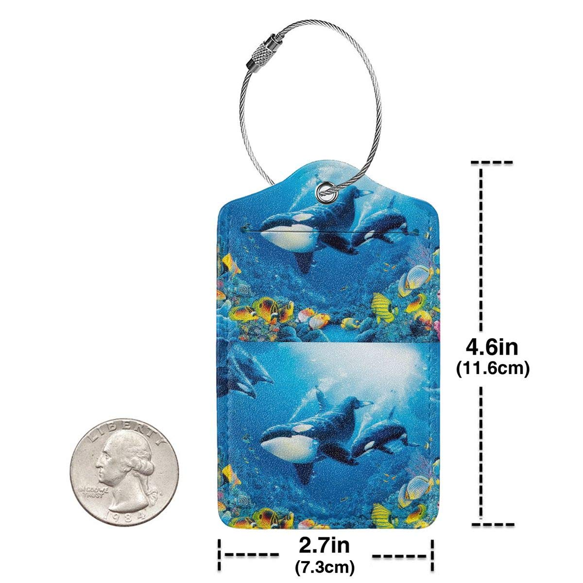 Killer Whales Orcas Ocean Sea Animals Wallpaper Leather Luggage Tags Personalized Privacy Cover With Adjustable Strap