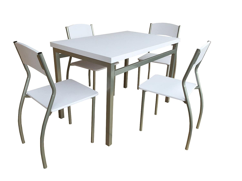 AVANTI TRENDSTORE - Gentilino - Set con tavolo e 4 sedie per cucina o sala da pranzo, in metallo e MDF bianco. Dimensioni tavolo: LAP 110x76x70 cm, sedie: LAP 39,5x82,5x48 cm