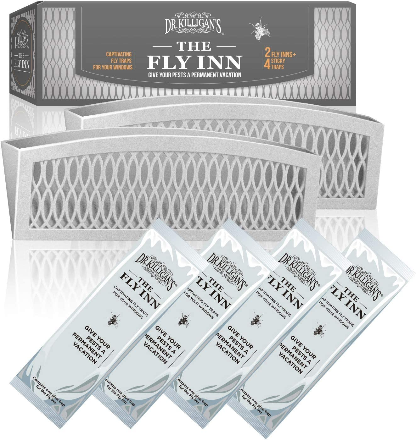 Dr. Killigan's The Fly Inn | Window Fly Traps | Sticky Fly Strip | Indoor Insect Trap | Catches and Hides Bugs | Better Than Fly Paper or Ribbon | Get Rid of Fruit Flies | (2+4, Gray)