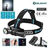Bundle: Olight H2R Nova Cree LED 2300 Lumens Rechargeable Headlamp / Flashlight w/ Customized 18650 Battery -Magnetic USB Charging Cable- Headband -Clip and Mount ,Bundle w/ Olight Patch (CW)