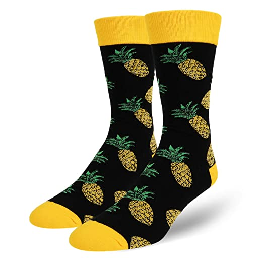 dfcebd61786 Zmart Men s Novelty Crazy Funny Pineapple Crew Socks Cool Funky Fruit Dress  Socks