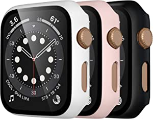 Mastten 3-Pack Case Compatible with Apple Watch Case Series 3 38mm, Bumper Protective Cover Compatible with Apple Watch Screen Protector 38mm with HD Tempered Glass, Black, Pink, White