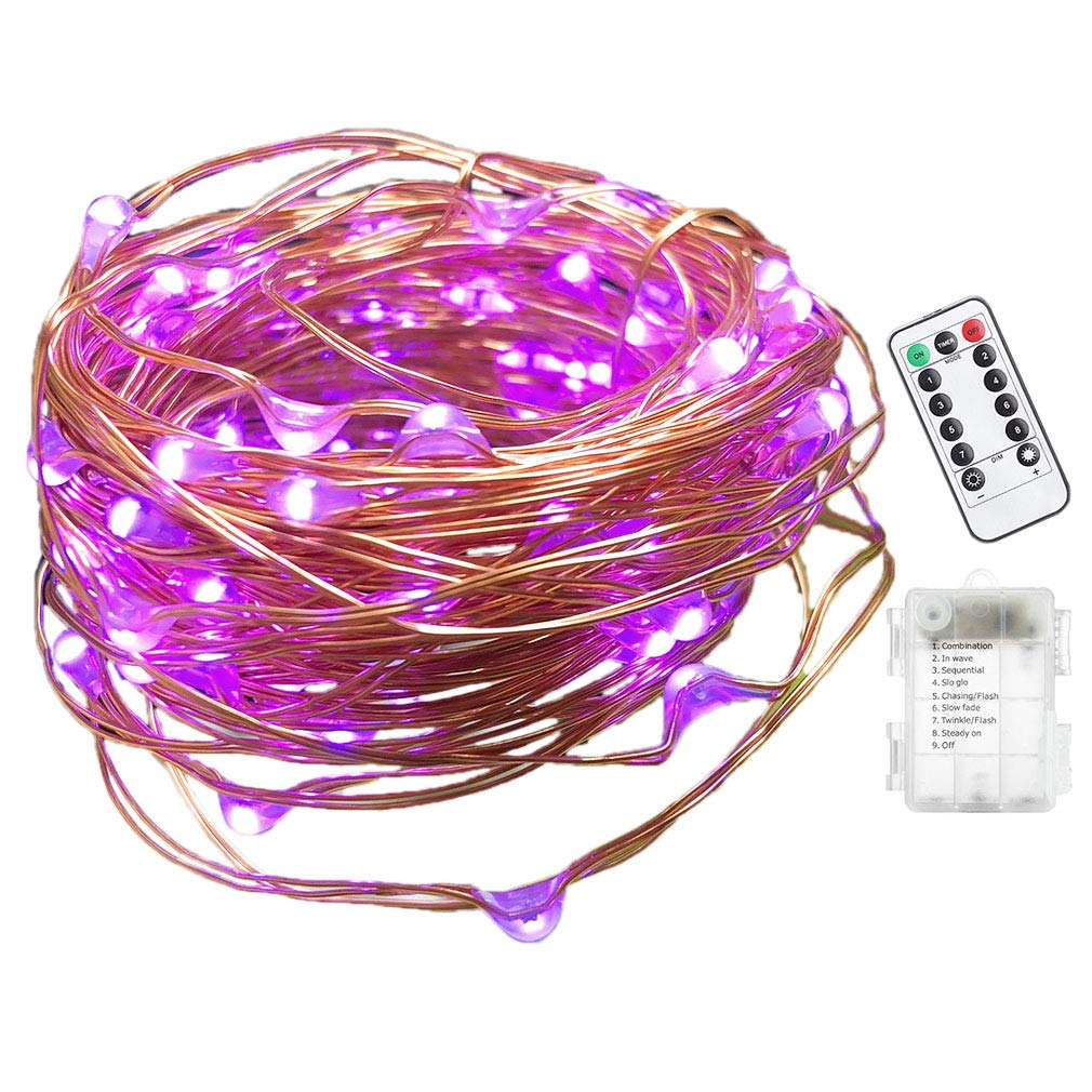Viewpick String Lights Purple 10M 100 LEDs Fairy Lights Remote Wireless Dimmable LED String Lights Flexible Copper Wire Battery Operated by Viewpick