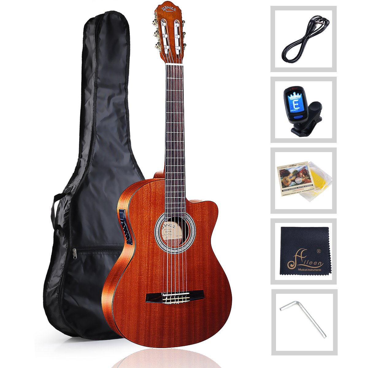 WINZZ Nylon-string Classical Guitar 39'' Electric Build-in Pickup Cutaway with Nylon Strings, Bag, Cleaning Cloth, Tuner and Cable