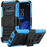 MoKo Galaxy S8 Case, Shock Absorbing Hard Cover Ultra Protective Heavy Duty Case with Holster Belt Clip + Built-in Kickstand for Samsung Galaxy S8 - Blue